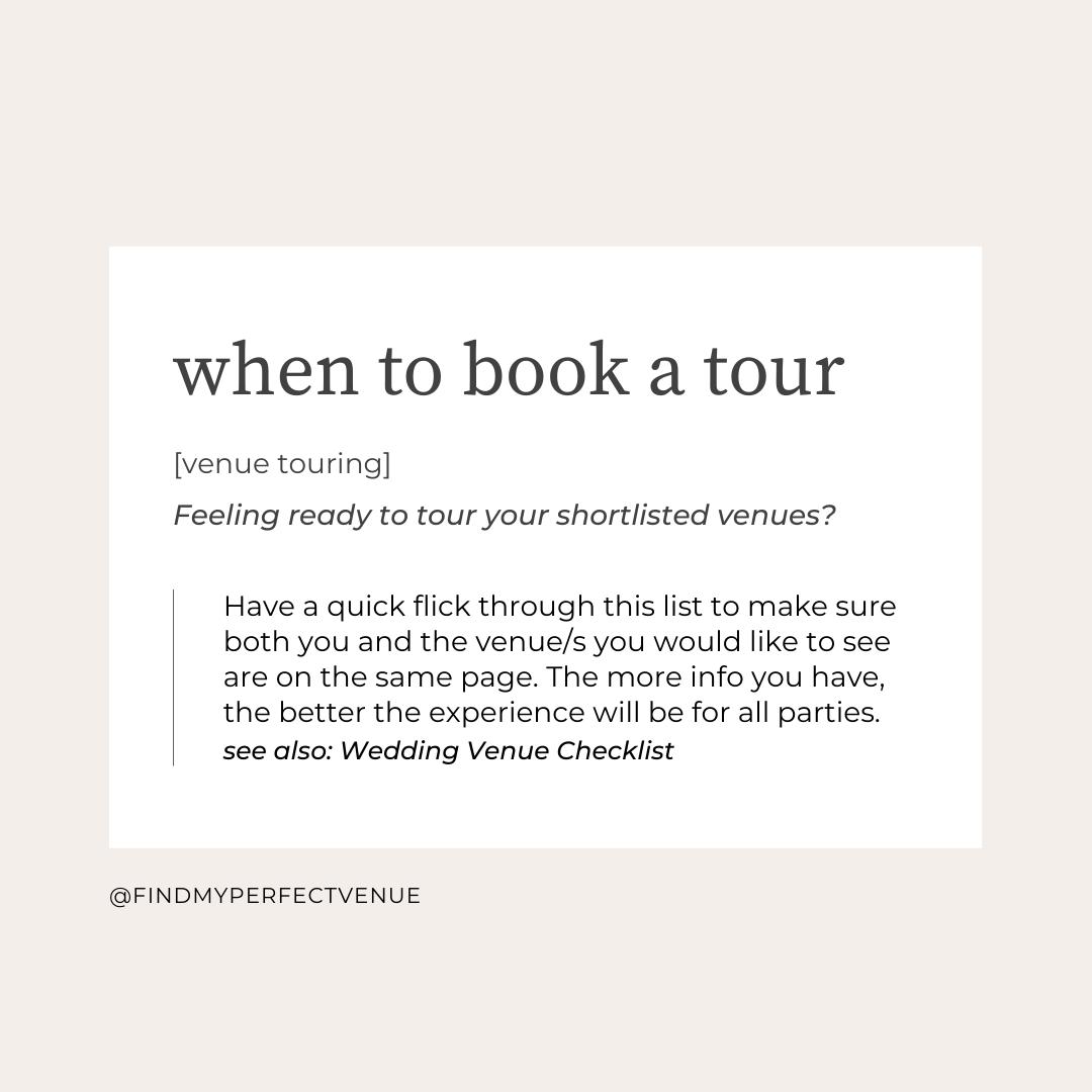 when should you book a wedding venue tour?